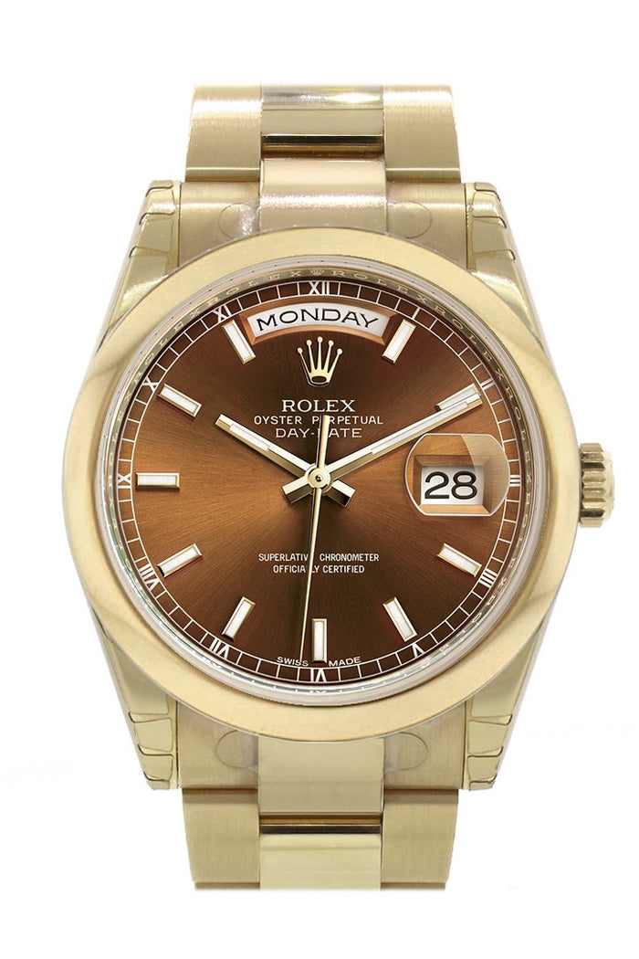 Rolex Day-Date 36 Cognac Dial Yellow Gold Watch 118208