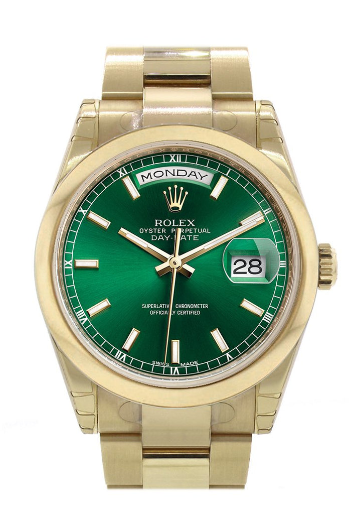 Rolex Day-Date 36 Green Dial Yellow Gold Watch 118208