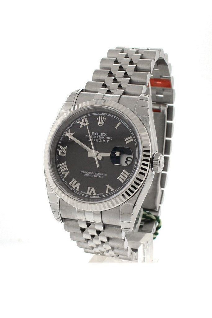 Rolex Datejust 36 Black Roman Dial Fluted Bezel Jubilee Mens Watch 116234
