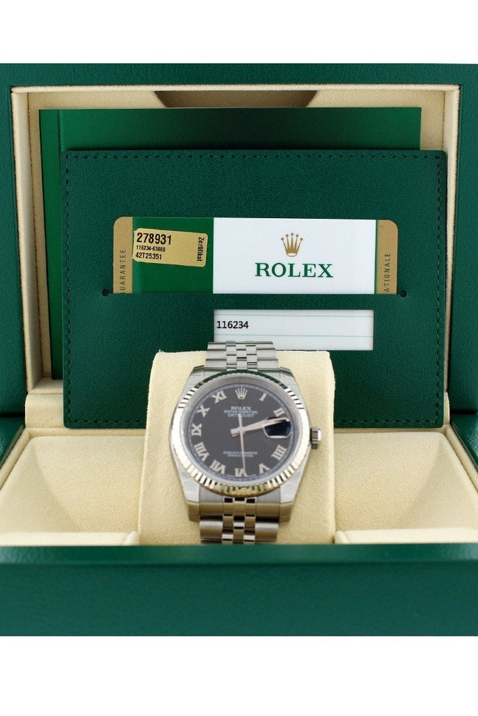 ROLEX 116234 Datejust 36 Black Roman Dial Unisex Watches | WatchGuyNYC