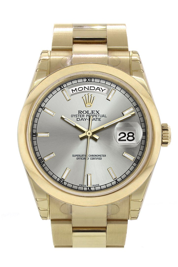 Rolex Day-Date 36 Silver Dial Yellow Gold Watch 118208