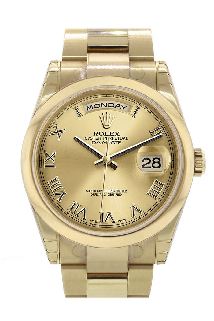 Rolex Day-Date 36 Champagne Roman Dial Yellow Gold Watch 118208