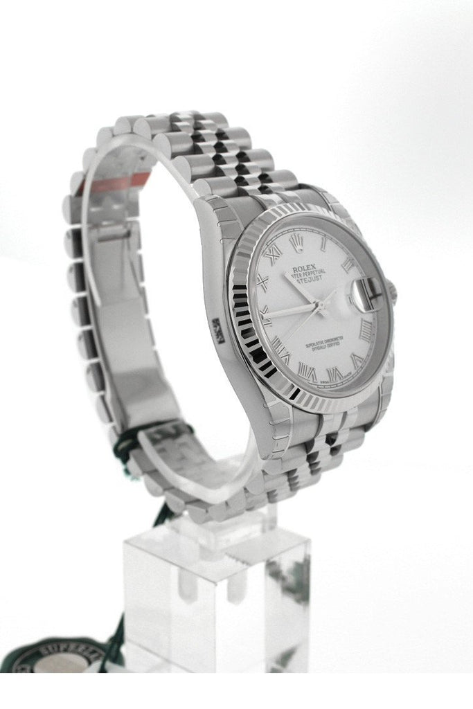ROLEX 116234 Datejust 36 White Roman Dial 18k White Gold Men's Watch | WatchGuyNYC