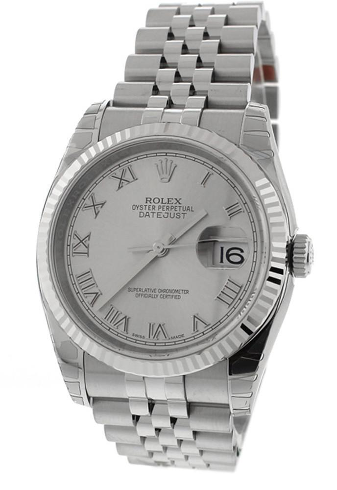 Rolex Datejust 36 Rhodium Roman Dial 18K White Gold Fluted Jubilee Unisex Watch 116234
