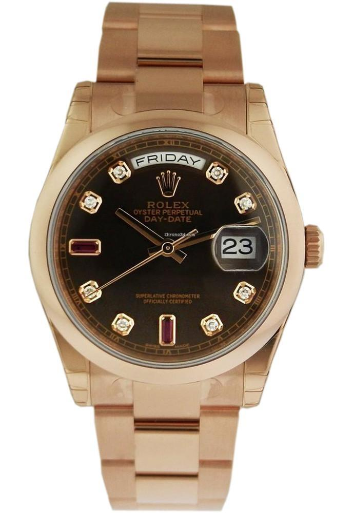 Rolex 118235 Day-Date 36 President Chocolate Diamond Dial 18K Everose Gold   | WatchGuyNYC