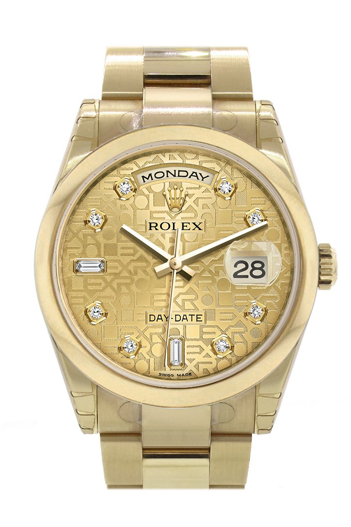 Rolex Day-Date 36 Champagne Jubilee Diamonds Dial Yellow Gold Watch 118208