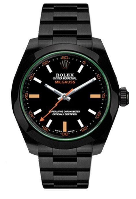 ROLEX Custom Black-PVD Milgauss Black Dial Domed Bezel Green Crystal Black BOC Coating Watch 116400GV | WatchGuyNYC