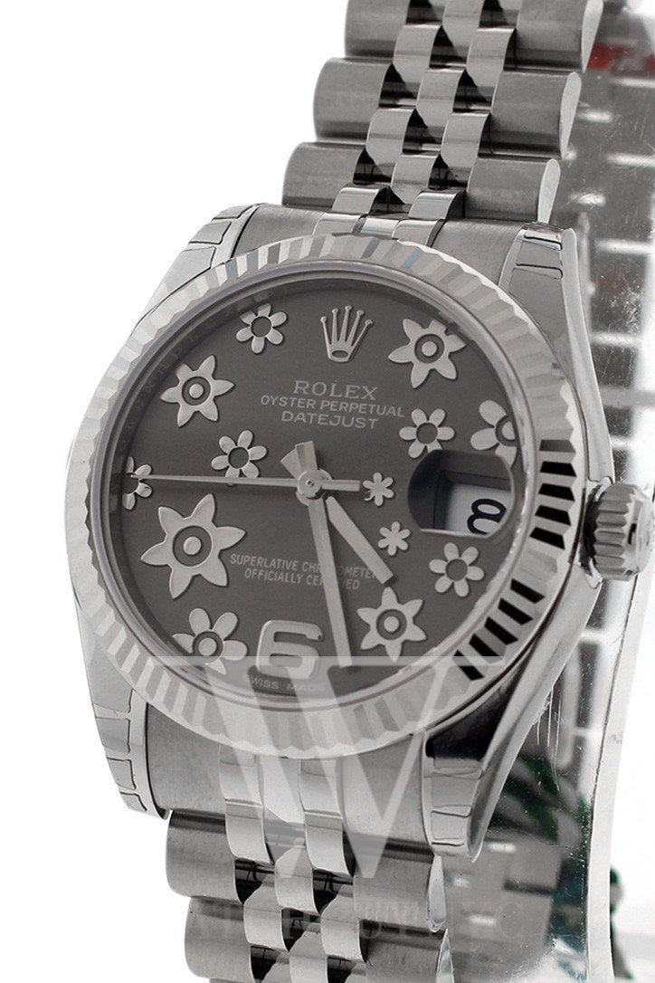 Rolex Datejust 31 Dark Rhodium Floral Motif Dial White Gold Fluted Bezel Jubilee Ladies Watch 178274