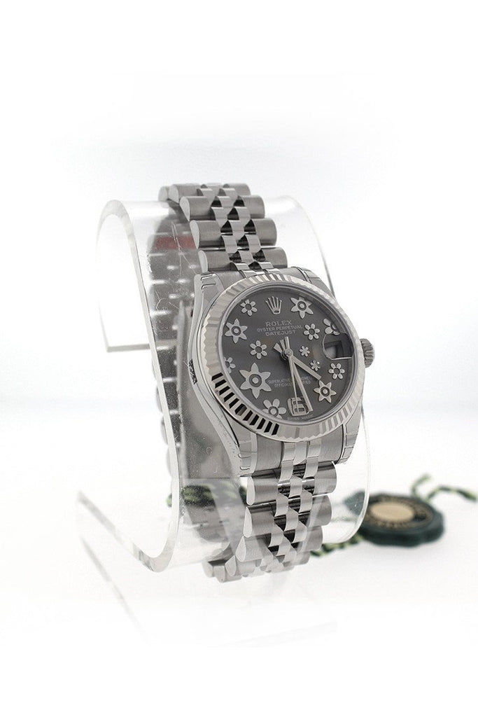 Rolex 178274 Datejust 31 Dark Rhodium Floral Motif Dial Ladies Watch| WatchGuyNYC