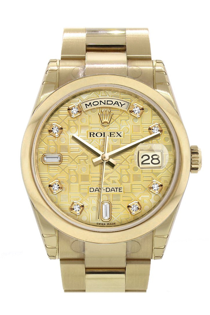 Rolex Day-Date 36 Champagne mother of pearl Jubilee Diamonds Dial Yellow Gold Watch 118208