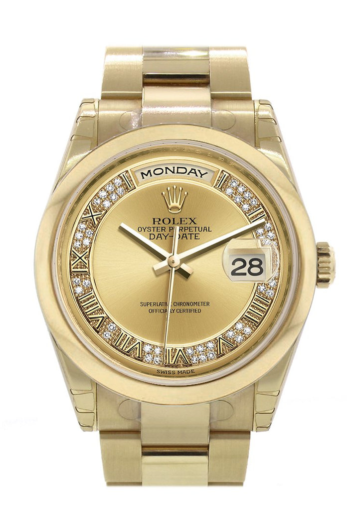 Rolex Day-Date 36 Champagne Diamonds Roman Dial Yellow Gold Watch 118208