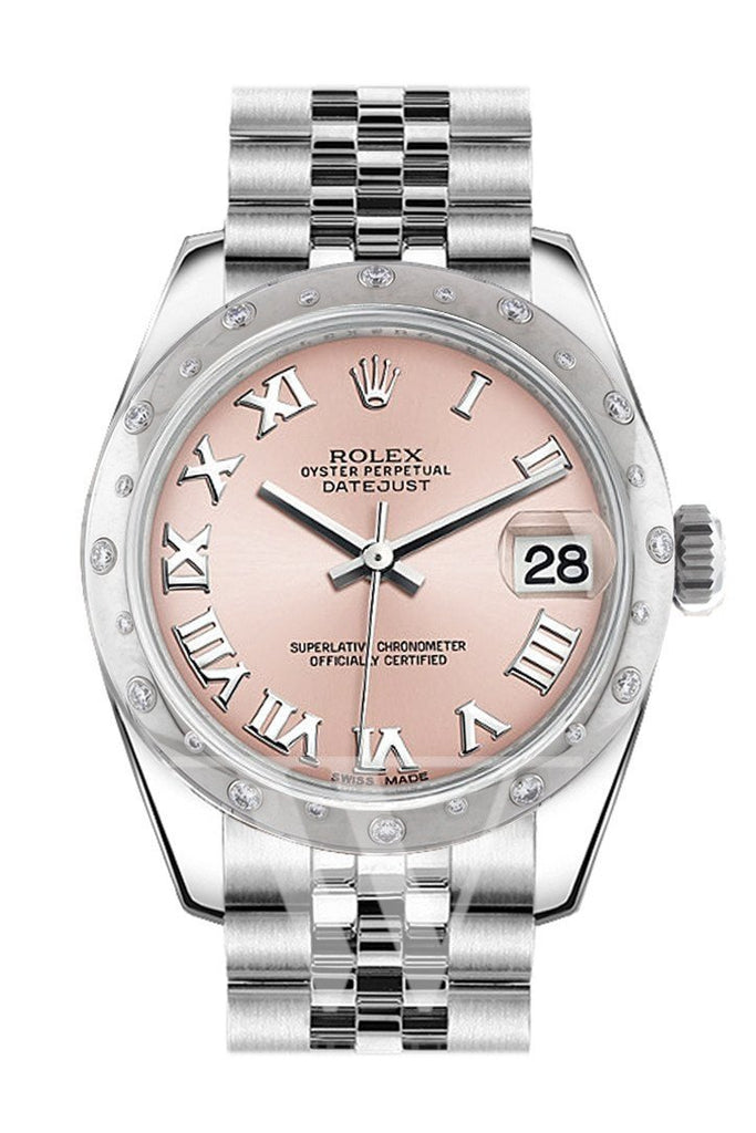 Rolex Datejust 31 Pink Roman Dial Dome Set With Diamonds Bezel Jubilee Ladies Watch 178344 / None
