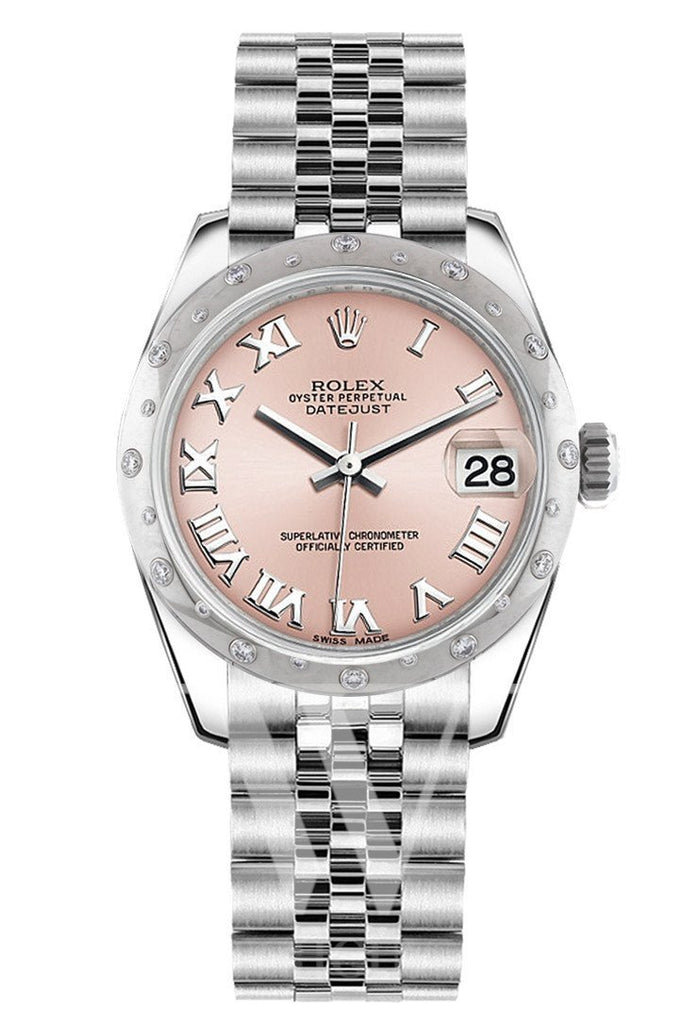 Rolex Datejust 31 Pink Roman Dial Dome Set With Diamonds Bezel Jubilee Ladies Watch 178344