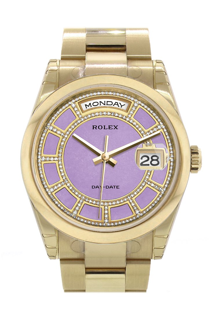 Rolex Day-Date 36 Carousel Lavender Jade Diamonds Dial Yellow Gold Watch 118208