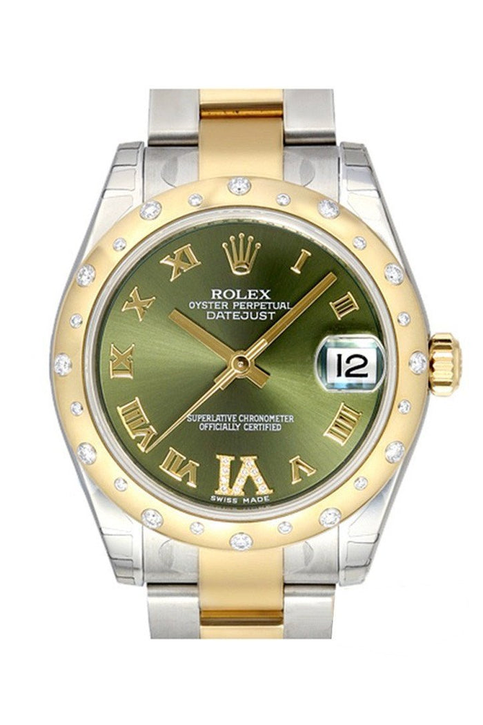 ROLEX 178343 Datejust 31 Olive Green Roman Diamond Dial Steel Gold | WatchGuyNYC