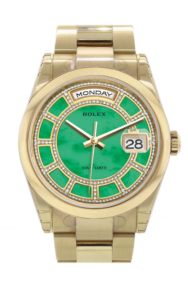Rolex Day-Date 36 Carousel Green Jade Diamonds Dial Yellow Gold Watch 118208