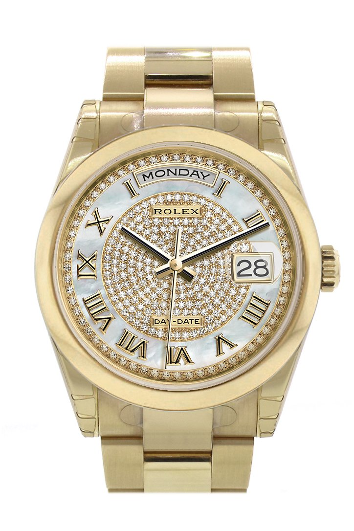 Rolex Day-Date 36 White Mother Of Pearl Diamonds Paved Dial Yellow Gold Watch 118208