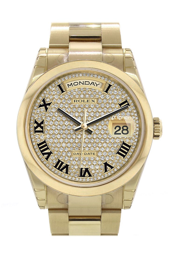 Rolex Day-Date 36 Diamond Paved Dial Yellow Gold Watch 118208