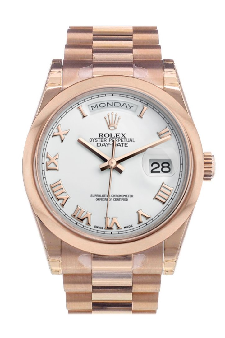 Rolex Day-Date 36 White Roman Dial President Everose Gold Watch 118205