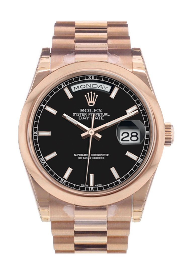 Rolex Day-Date 36 Black Dial President Everose Gold Watch 118205