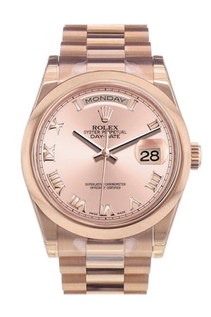 Rolex Day-Date 36 Pink Roman Dial President Everose Gold Watch 118205