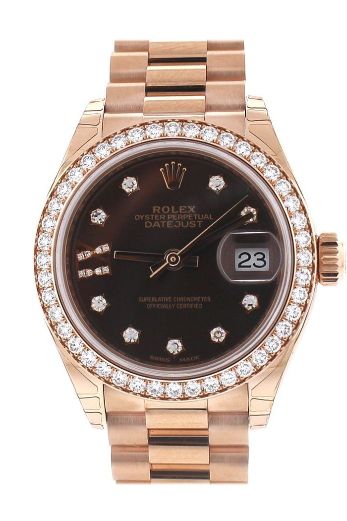Rolex Lady-Datejust 28 Chocolate Dial 18K Rose Gold President Ladies Watch 279135RBR
