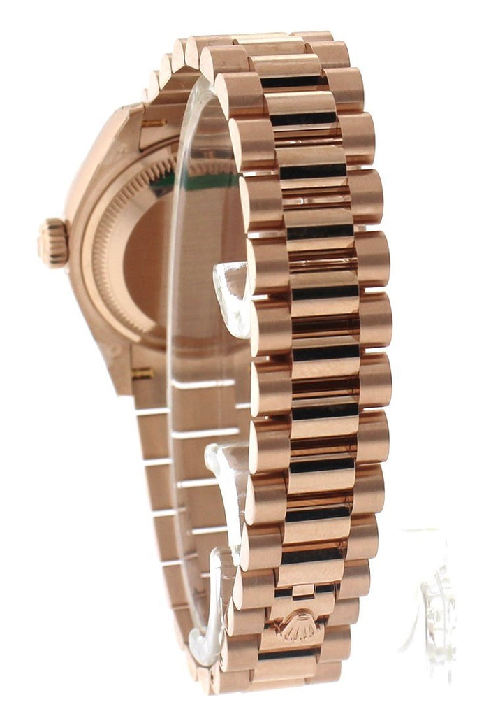 Rolex Datejust 28 Sundust Dial Fluted Bezel Rose Gold President Ladies Watch 279175