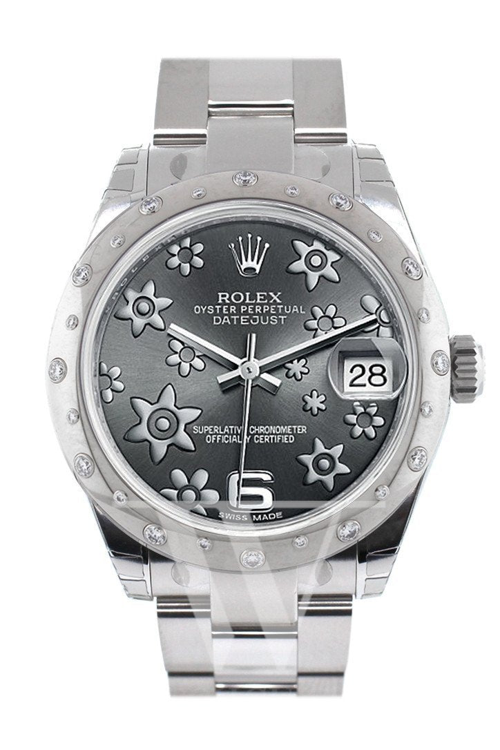 Rolex Datejust 31 Dark Rhodium Floral Motif Dial Dome Set With Diamonds Bezel Ladies Watch 178344 /