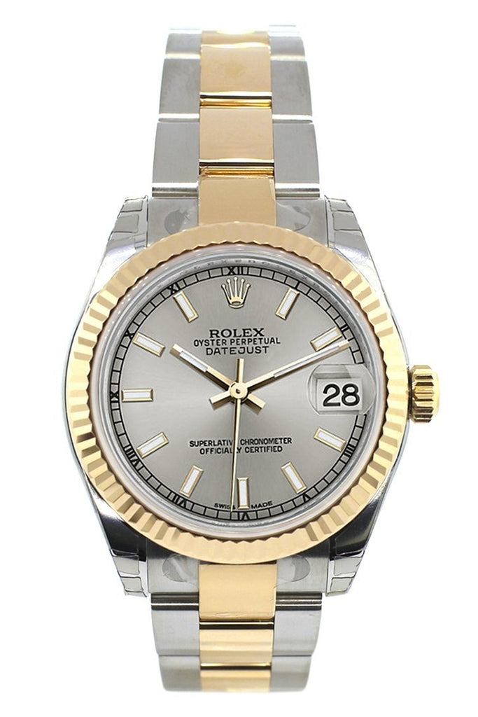 Rolex Datejust 31 Silver Dial Fluted Bezel 18K Gold Two Tone Ladies 178273