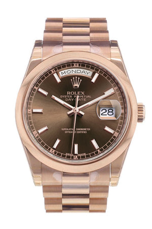 Rolex Day-Date 36 Chocolate Dial President Everose Gold Watch 118205