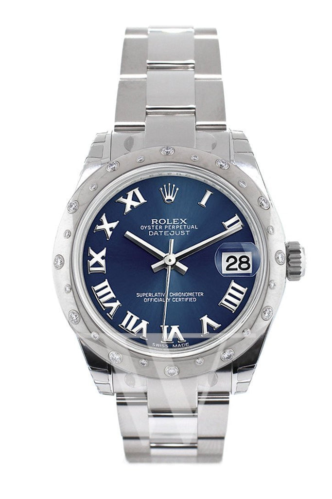 ROLEX 178344 Datejust 31 Blue Diamond Dial Stainless White Gold Ladies Watch | WatchGuyNYC