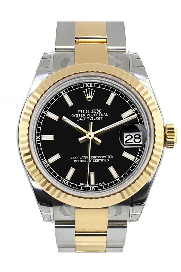 Rolex Datejust 31 Black Dial Fluted Bezel 18K Gold Two Tone Ladies 178273
