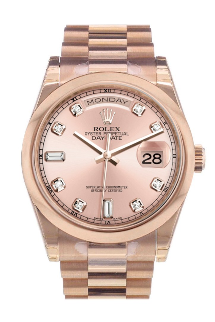 Rolex Day-Date 36 Pink Set With Diamonds Dial President Everose Gold Watch 118205