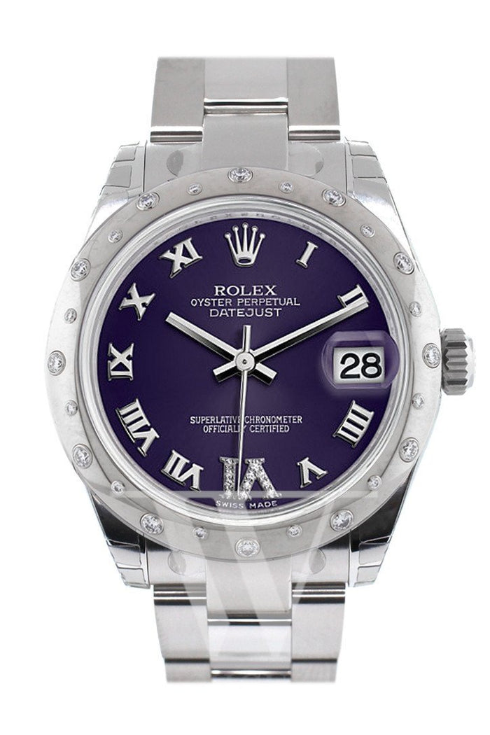 Rolex Datejust 31 Purple Roman Large VI Diamond Dial Dome set with Diamonds Bezel Ladies Watch 178344