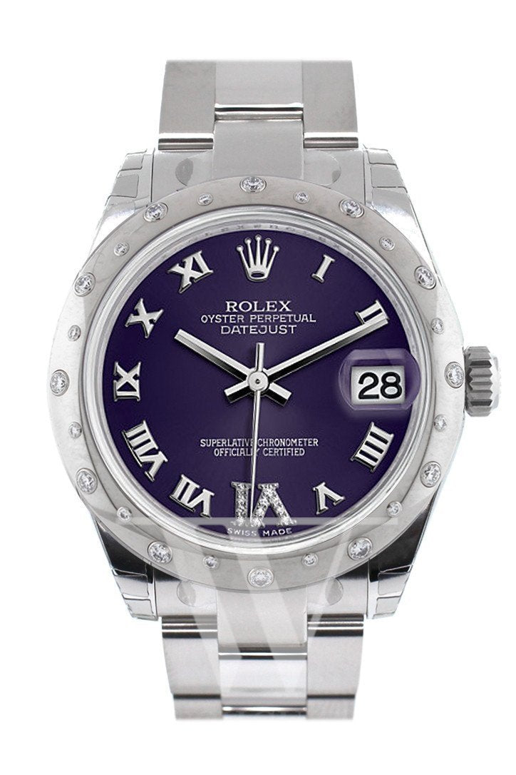 Rolex Datejust 31 Purple Roman Large Vi Diamond Dial Dome Set With Diamonds Bezel Ladies Watch