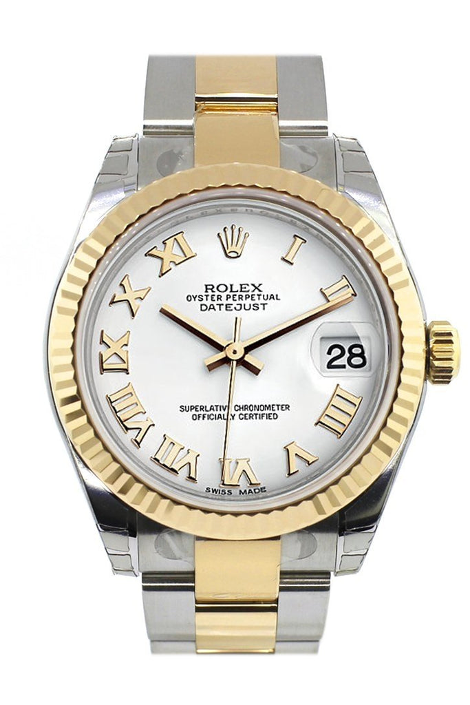 Rolex Datejust 31 White Roman Dial Fluted Bezel 18K Gold Two Tone Ladies 178273 / None Watch