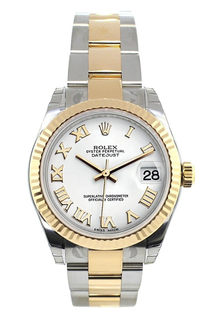 Rolex Datejust 31 White Roman Dial Fluted Bezel 18K Gold Two Tone Ladies 178273 Watch