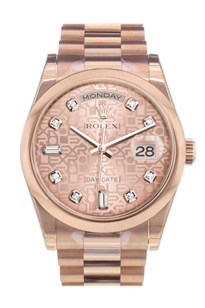 Rolex Day-Date 36 Pink Jubilee Diamonds Dial President Everose Gold Watch 118205