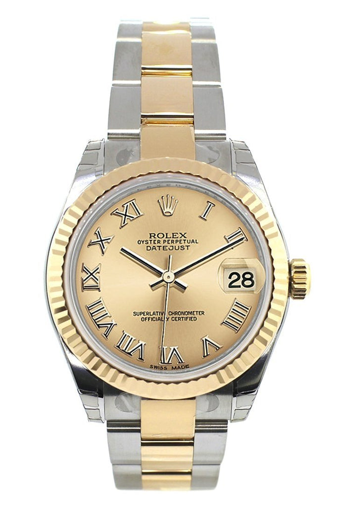 Rolex Datejust 31 Champagne Roman Dial Fluted Bezel 18K Gold Two Tone Ladies 178273 Watch