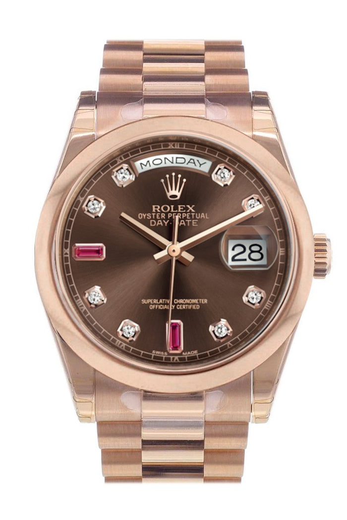 Rolex Day-Date 36 Chocolate Diamonds and Rubies Dial President Everose Gold Watch 118205