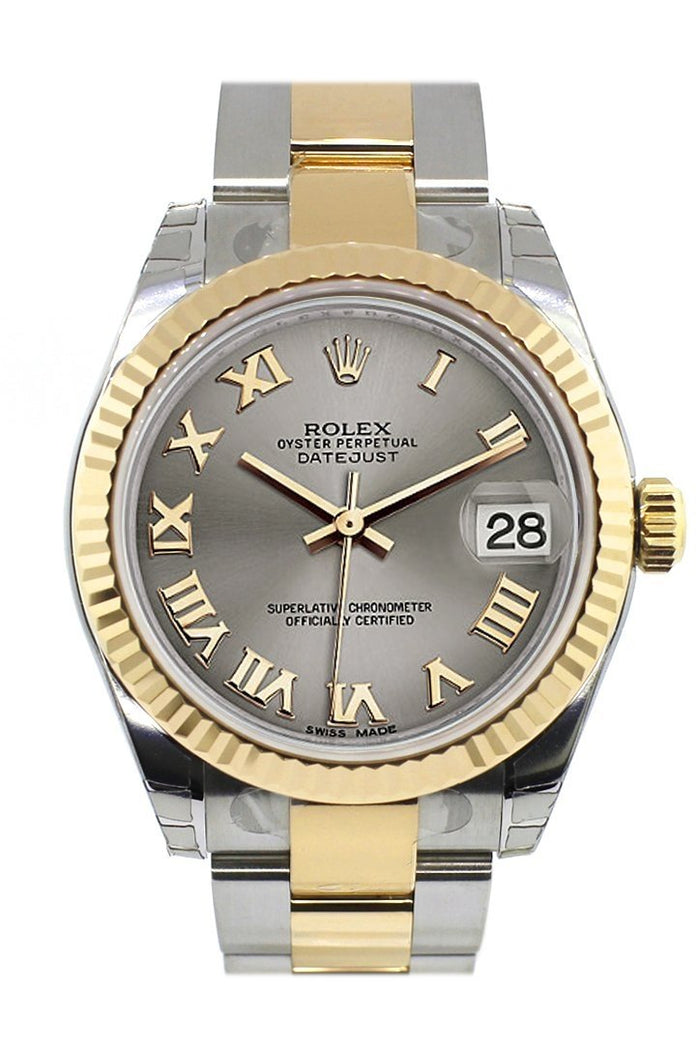 Rolex Datejust 31 Steel Roman Dial Fluted Bezel 18K Gold Two Tone Ladies 178273
