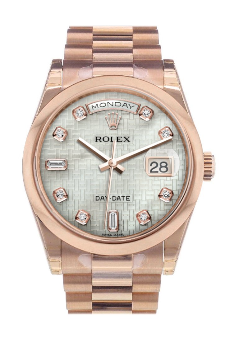 Rolex Day-Date 36 White Mother Of Pearl Oxford Motif Diamonds Dial President Everose Gold Watch