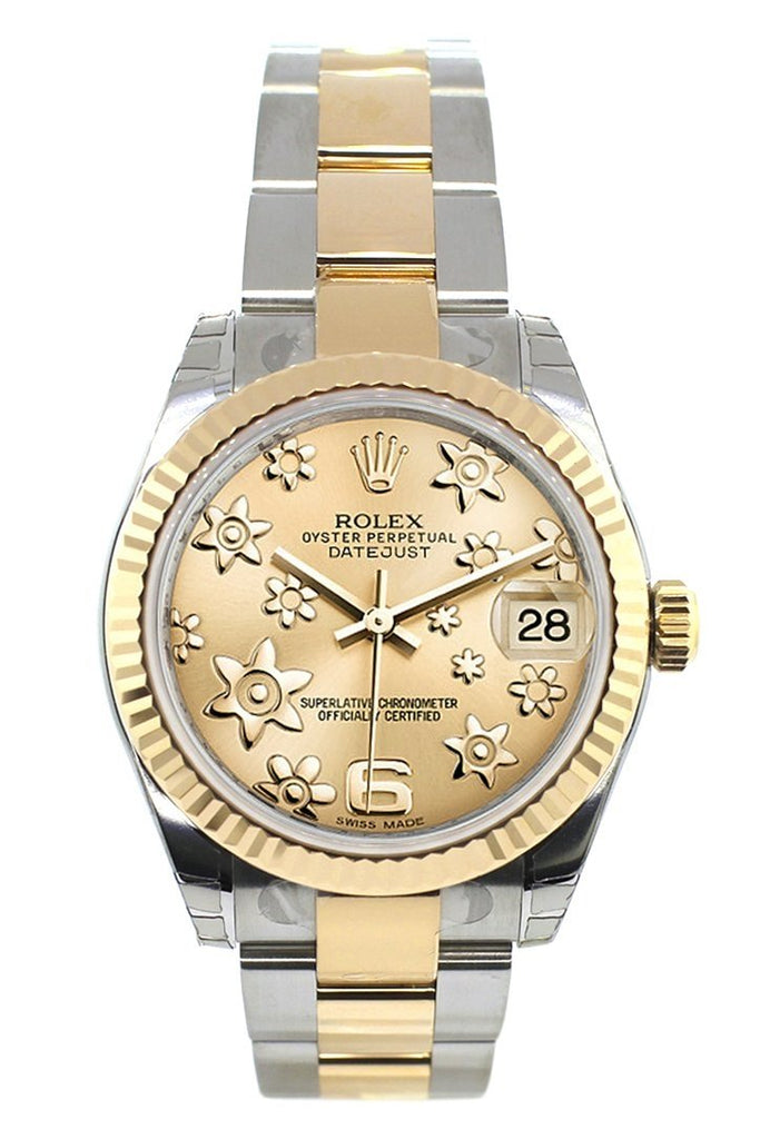 Rolex Datejust 31 Champagne Floral Motif Roman Dial Fluted Bezel 18K Gold Two Tone Ladies 178273