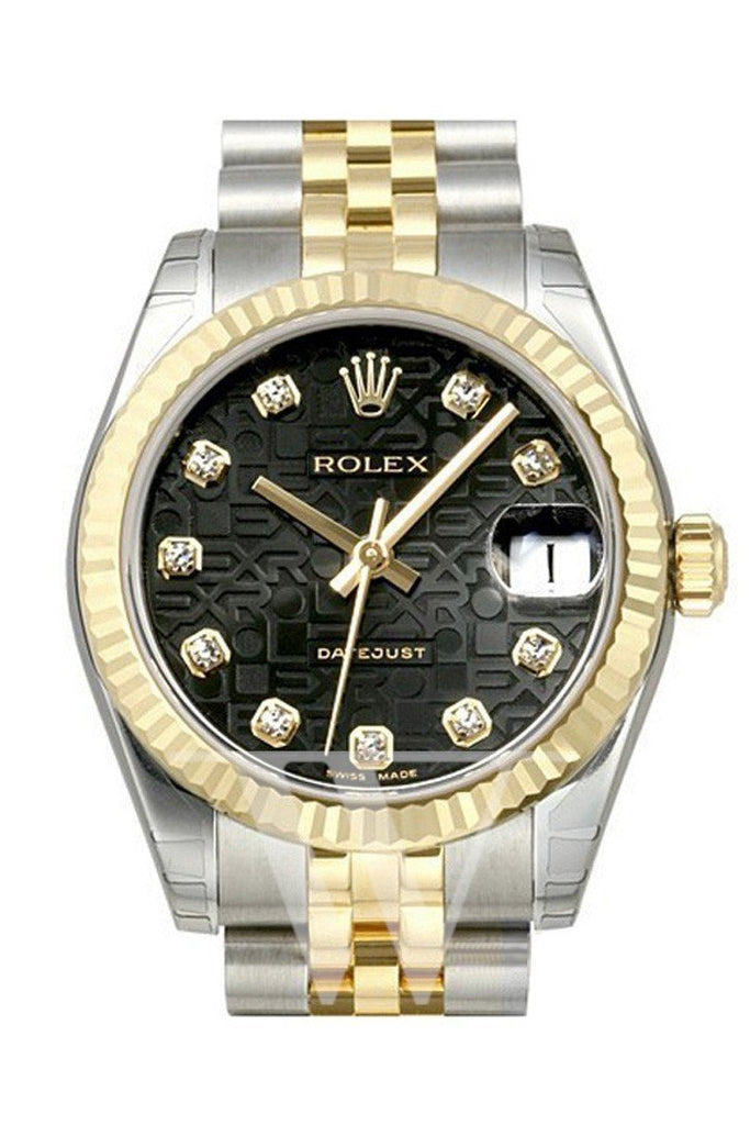 Rolex Datejust 31 Black Jubilee Diamond Dial Steel And Yellow Gold Ladies Watch 178273 / None