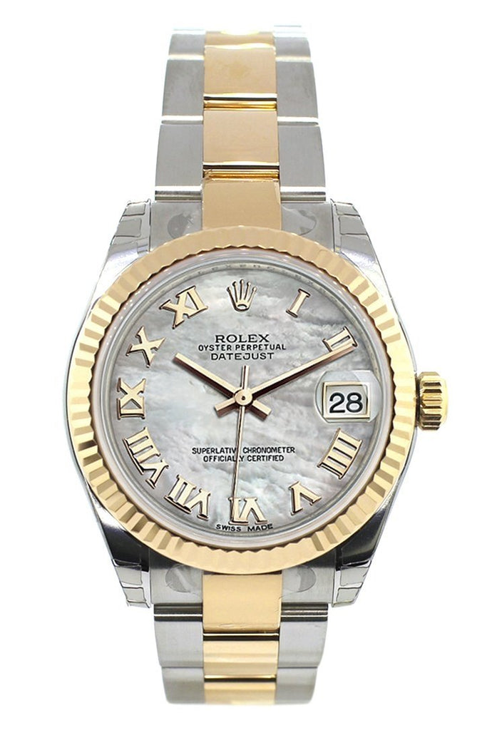 Rolex Datejust 31 Mother of Pearl Roman Dial Fluted Bezel 18K Gold Two Tone Ladies 178273