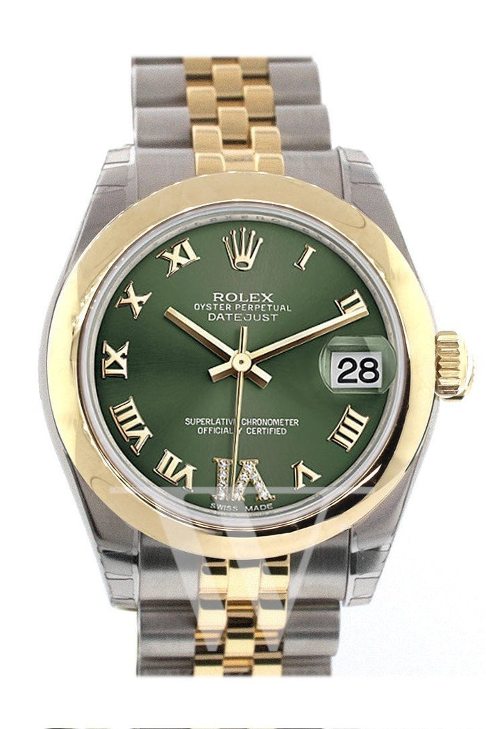 Rolex Datejust 31 Olive Green Large VI set with Diamonds Gold Jubilee Ladies 178243