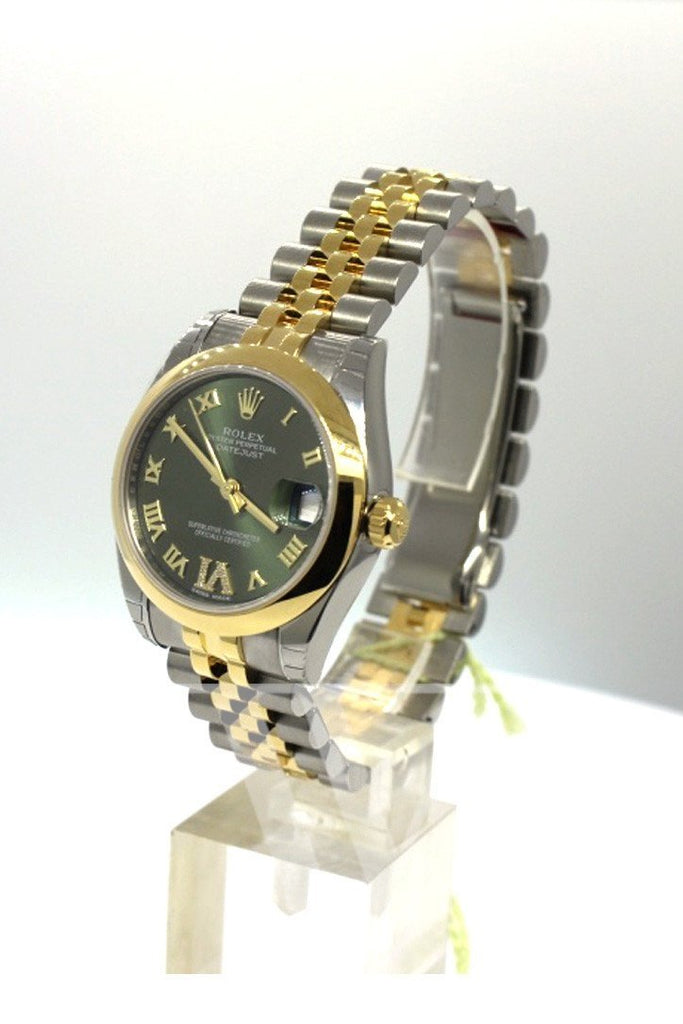 Rolex Datejust 31 Olive Green Large Vi Set With Diamonds Gold Jubilee Ladies 178243 Watch