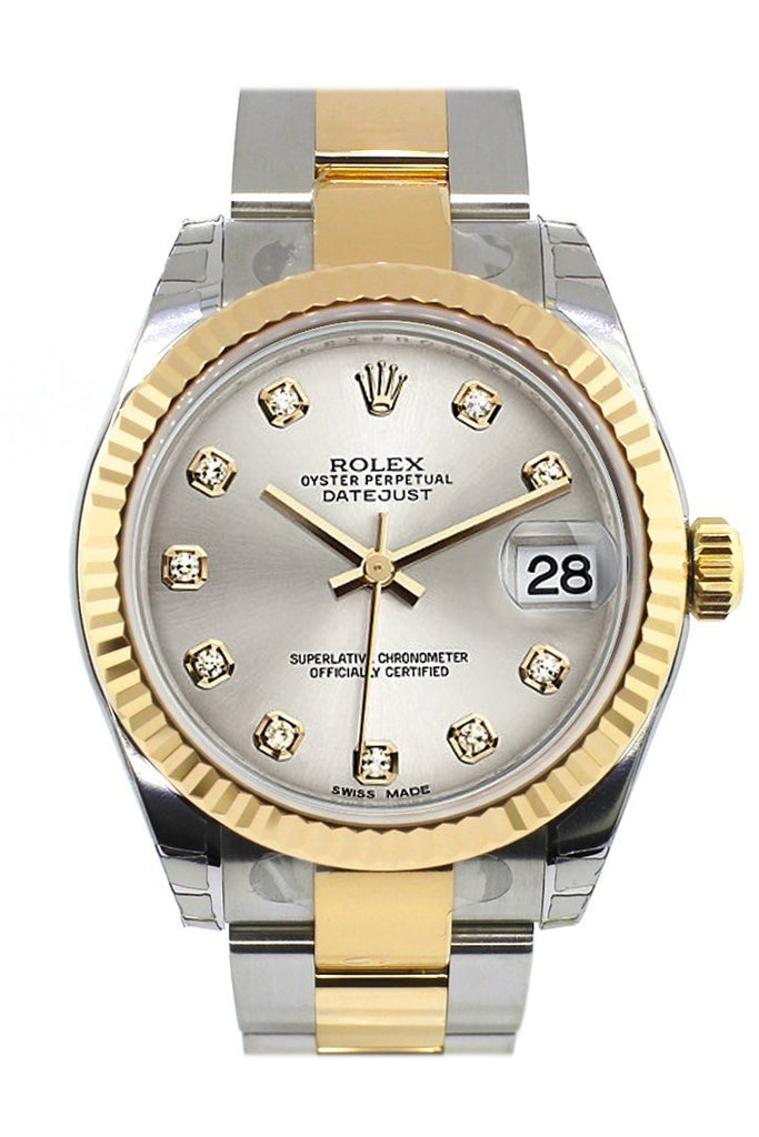Rolex Datejust 31 Silver Diamond Dial Fluted Bezel 18K Gold Two Tone Ladies 178273 / None Watch