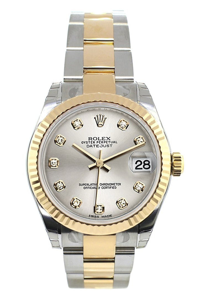 Rolex Datejust 31 Silver Diamond Dial Fluted Bezel 18K Gold Two Tone Ladies 178273 Watch