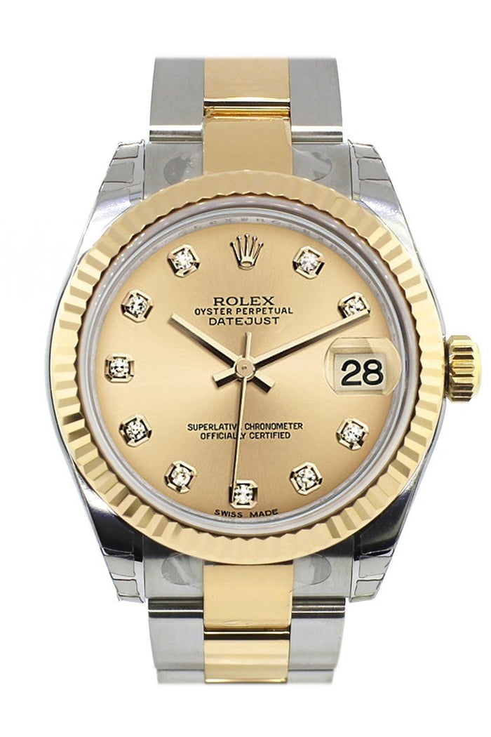 Rolex Datejust 31 Champgane Diamond Dial Fluted Bezel 18K Gold Two Tone Ladies 178273
